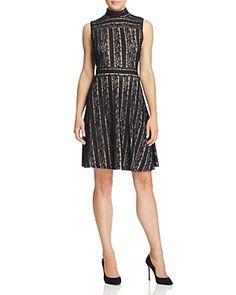 Vince Camuto Mock Neck Lace Dress