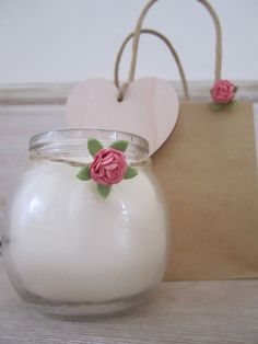 Wedding favour pretty handmade candles in by ChurchLaneCandlery