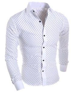Classical Turn-Down Collar Long Sleeve Slimming Stars Print Men s Shirt  Men s Shirts  7c1c1a67b4a93