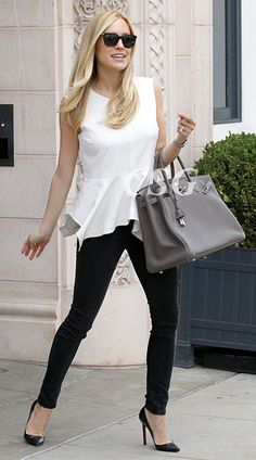 The always stylish Kristin Cavallari wore the Elizabeth and James Yumi Peplum Top as leaving the Jose Eber Salon in Beverly Hills, CA on September 26th, 2012.