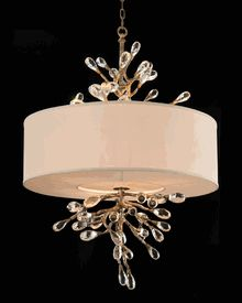 Limited Production Design & Stock: Grand Scale Crystal Tree Drum Pendant *  Off White Shade *  Antique Silver Gilt * 53 x 33 inches * Partner Table, Floor & Wall Lamps Available