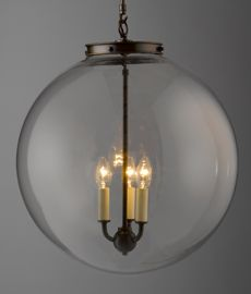 """Hector Glass Globe. Extra Large: Overall Diam 20"""".  Large: Overall Diam 16"""".  Medium: Overall Diam 11.4"""". Rod can be cut to exact size needed. This fixture and look is very current now. More people selecting this look over the traditional chandelier. This might be your  """" special """" look and talking point for the room. Think its very clean and stylish. Cost will be more than the other options. But its a real stylish gem. Hector Finch is UK company, Remains offer it too, see other pin."""