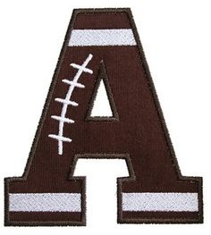 """I2S's Football Applique Font -- All uppercase letters A - Z in sizes:4x4 hoop and 5.5"""" & 6.5"""" (numbers sold separately)"""