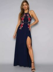 Fashionable  Halter Neck Floral Embroidery Maxi Dress - OASAP.com-the dress is featuring halter neck, floral embroidery, backless and maxi length. high quality also affordable.
