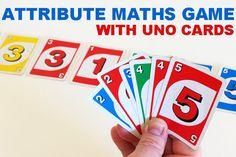 Math Games: Learning About Attributes with Uno Cards. Fun game for preschoolers and early elementary aged children. Math Activities For Kids, Fun Math Games, Preschool Education, Homeschool Math, Teaching Math, Homeschooling, Learning Games, Preschool Activities, Teaching Ideas