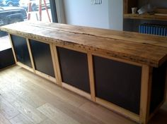 Rustic Wood Cash Wrap Retail Sales Counter With Chalk Board Front