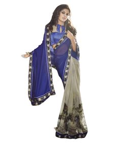 Buy Now Grey-Blue Crepe Georgette Festival Wear Printed Saree With Crepe Blouse only at Lalgulal. Price :- 1,912/- inr. To Order :- http://goo.gl/YKjBqL . COD & Free Shipping Available only in India.