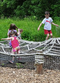 Go a little wild at Crabtree Nature Center's new nature play area, Explore Nature—acres of nature-based activities set in the beautiful Forest Preserves of Cook County. Climb like a spider on a giant web, figure out the age of a tree, build a fort or make mud for butterflies to drink. See what you can discover balancing along the timber trail: a giant bird nest, a tree stump trail or a quiet spot to listen to the birds.