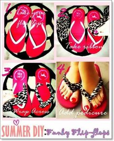 Diy flip flops... Look so cute with pastel flip flops and lace straps!