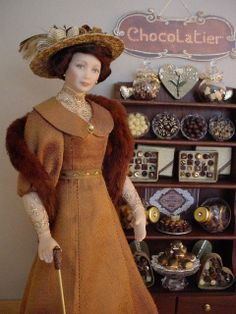 GOOD TIMES: February - Time for the Valentine's Day Rush at the Chocolaterie (Dollshouse dolls by Debbie Dixon-Paver)