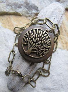 Willow tree - wood & brass necklace.