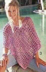 Lace Poncho - Original Crochet Design by Marji's Makings (Marji Tucker). Poncho Shawl, Crochet Poncho Patterns, Crochet Shawls And Wraps, Crochet Scarves, Crochet Clothes, Crochet Vintage, Diy Crochet, Crochet Top, Crochet Capas
