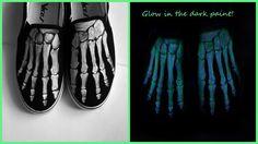Boney shoes custom handpainted skeleton Glow in the by MadCandies