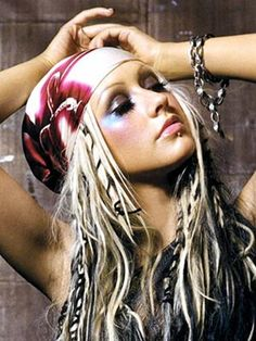 Christina Aguilera black blonde hair bandanna braids American Indian Boho