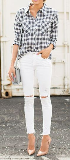 white denim and an oversized button down