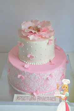 ----- Baby Shower Crafts, Tea Party Baby Shower, Comunion Cakes, Sophia Cake, Bolo Floral, Silhouette Cake, Baby Girl Cakes, Cakes For Women, Painted Cakes
