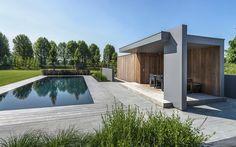 Modern Pool House, Modern Gazebo, Rain Garden, Garden Pool, Orangery Roof, Modern Patio Design, Pool Cabana, Pool Houses, Pool Designs