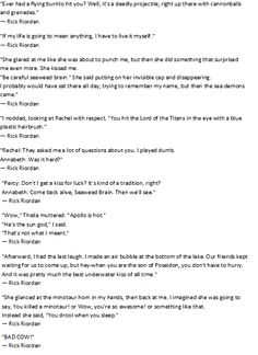 Percy Jackson! Love these books!>>>>Can I just say that uncle Rick is amazing at one-liners!