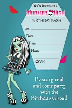 Free Birthday Invitations featuring Frankie Stein (aka Frankie Fine) from Monster High!   Download your FREE Monster High Birthday Party Inv...