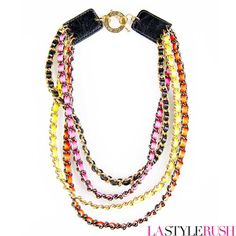 """As seen on Demi Lovato and Jessica Stroup, the Neon Multi Chain necklace will definitely capture the spotlight! This necklace features 18K yellow gold plated multiple chain link braided with multiple neon leather on a toggle clasp engraved with """"CC SKYE."""" Get this celebrity status necklace at LAStyleRush.com and be the star of the night!"""
