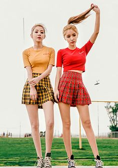Tartan check pleats skirt | Korean Fashion #chuu