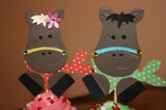 Horse decorations, cupcake topper, table topper,