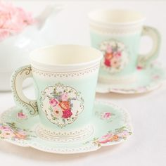 This paper tea cup and saucer set is such a fun addition for any tea party bridal shower.
