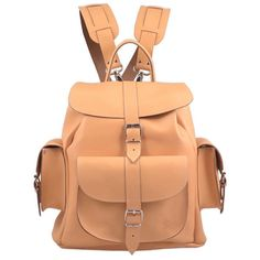 Grafea Peaches & Cream Medium Leather Rucksack - Peach (340 CAD) ❤ liked on Polyvore featuring bags, backpacks, bolsas, buckle backpack, grafea backpack, real leather backpack, drawstring backpack and day pack backpack