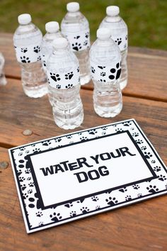 20 Easy Ideas for a Puppy Party on a Budget Instead of juice boxes, get small water bottles from costco. Remove labels and replace with puppy duck tape. Then put a straw in each one with a donut! Puppy Birthday Parties, Puppy Party, Dog Birthday, Birthday Party Themes, Birthday Ideas, Birthday Stuff, Paw Patrol Party, Paw Patrol Birthday, Adoption Party