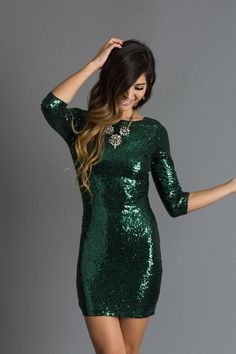 There's something about a sequin dress that makes us feel invincible! This all-over it color green sequin dress is a flattering and eye catching piece that you just NEED for your next holiday party or