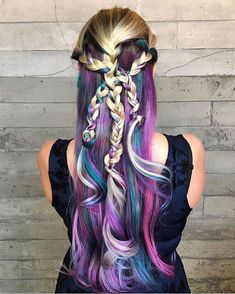 Rainbow Underlights with funky braid by Sara Bryant . - Rainbow underlights with funky weave by Sara Bryant … - Vivid Hair Color, Cool Hair Color, Hair Colors, Colours, Funky Braids, Hidden Rainbow Hair, Underlights Hair, Hair Images, Hairstyle Images