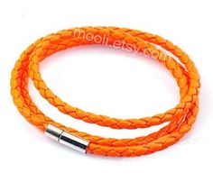 3 circles orange leather bracelet men leather bracelet by mooli, $4.50