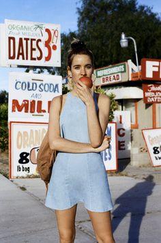 Hit the road in the Denim Lulu Crop Top & Mini Skirt.