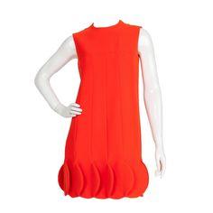 b7fd5afd359 Iconic Pierre Cardin Orange Space Age Dress w Petalled Hem ca. 1968