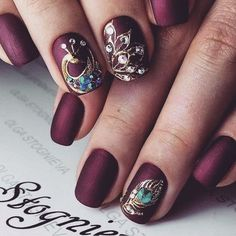 If you like peacock nail art designs, you're in the right place. Now, let's take a look at 24 gorgeous peacock nail art designs we have collected for you. Peacock Nail Designs, Peacock Nail Art, Burgundy Nail Designs, Flower Nail Designs, Burgundy Nails, Cute Nail Designs, Sparkly Nail Designs, Dark Color Nails, Nail Colors