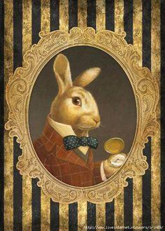 Bunny Portrait in gold brown black and red Art Vintage, Decoupage Vintage, Decoupage Paper, Hirsch Illustration, Illustration Art, Desenhos Tim Burton, Lapin Art, Art Fantaisiste, Printable Animals