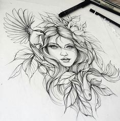 Tattoo sketches 595812225685083710 - Tatouage Source by lillies_b Rose Tattoos, Body Art Tattoos, New Tattoos, Sleeve Tattoos, Tatoos, Flash Tattoos, Goddess Tattoo, Aphrodite Tattoo, Artemis Tattoo