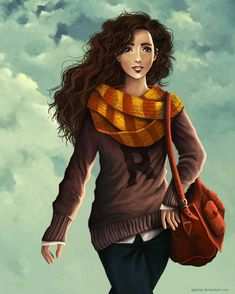 The windy day by *agartaa on deviantART - Hermione (the later years) in Ron's sweater. <3