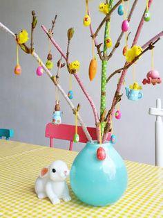 Hortensia takken decoreren met masking tape / Easter inspiration
