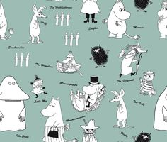 Moomin - Characters Green wallpaper on Photowall