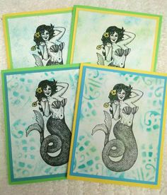 Hey, I found this really awesome Etsy listing at https://www.etsy.com/listing/252674483/vintage-mermaid-card-set-of-4-fantasy