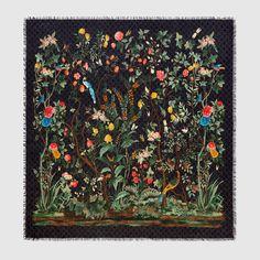 Gucci Tian print modal silk shawl - Gucci Men's Scarves 4956744G8651062