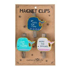 Whales Set of 3 Magnet Clips - These super-cute whale magnet clips hold memorable photos, important notes, fun invitations and more! They come packaged as a set of three featuring giftable sentiments and fun glitter details! Glitter Magnets, Cute Whales, Pin And Patches, Kitchen Gifts, Natural Life, Party Gifts, Diy And Crafts, Unique Gifts, How To Memorize Things