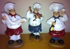 Set of Fat Chef Statue Set of 3 Kitchen Decor Sausage Wine Napkin Fat Chef Kitchen Decor, Bistro Kitchen, Kitchen Rack, Kitchen Themes, Kitchen Styling, Tuscany Kitchen, Coffee Theme, Italian Chef, Wine Decor