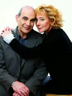 David Suchet and Zoe Wanamaker, aka Hercule Poirot and Ariadne Oliver.