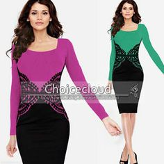 Womens Crochet Lace Slimming Tunic Wear to Work OL Business Party Bodycon Dress
