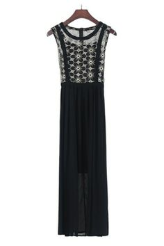 Glamorous Black Floral Embroidery Organza Maxi Dress