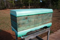 Sea Chest  Lane trunk salvaged from burnt home ,veneer stripped  redone in fabric dye and paint