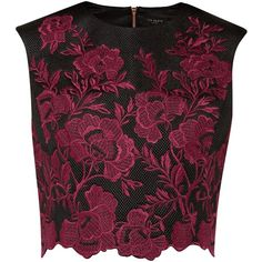 Ted Baker Vynus Embroidered mesh lace crop top ($180) ❤ liked on Polyvore featuring tops, shirts, crop tops, blouses, dark red, women, lace sleeveless top, purple lace top, sleeveless crop top and floral shirt