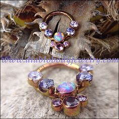 Anatometal Captive Cluster ring with removable threaded side gems. Great for Septums, Daith, and Nipple Piercings